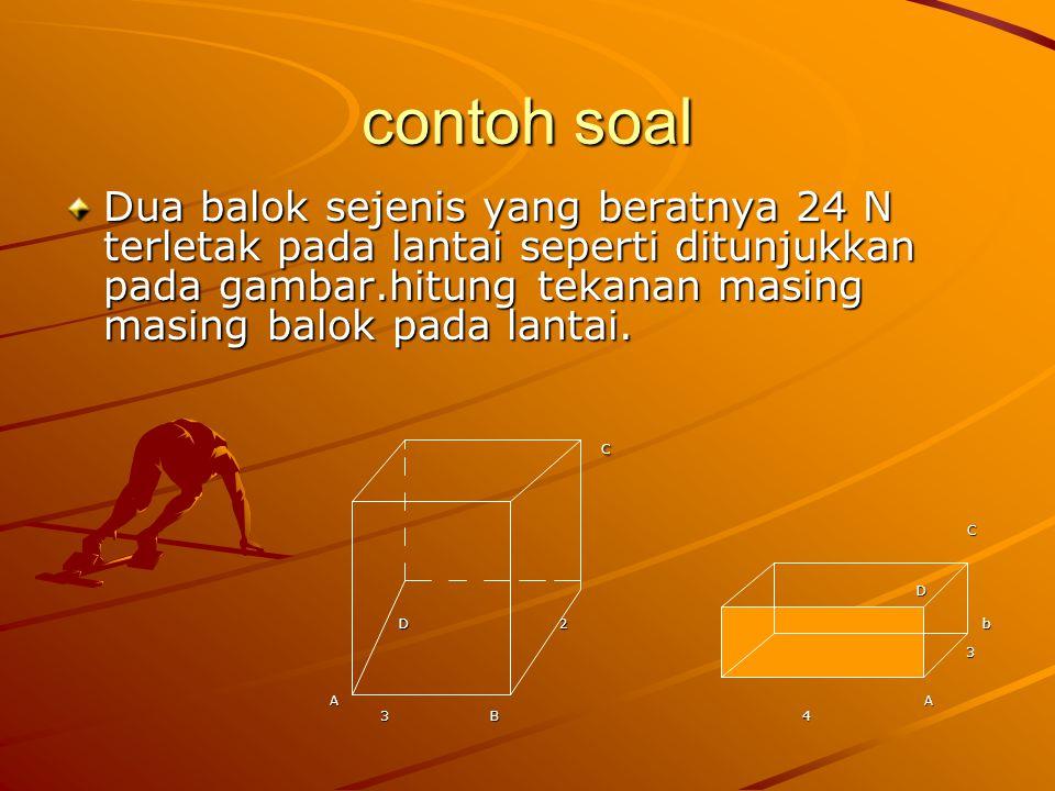 contoh soal Dua balok sejenis yang beratnya 24 N terletak pada lantai seperti ditunjukkan pada gambar.hitung tekanan masing masing balok pada lantai.