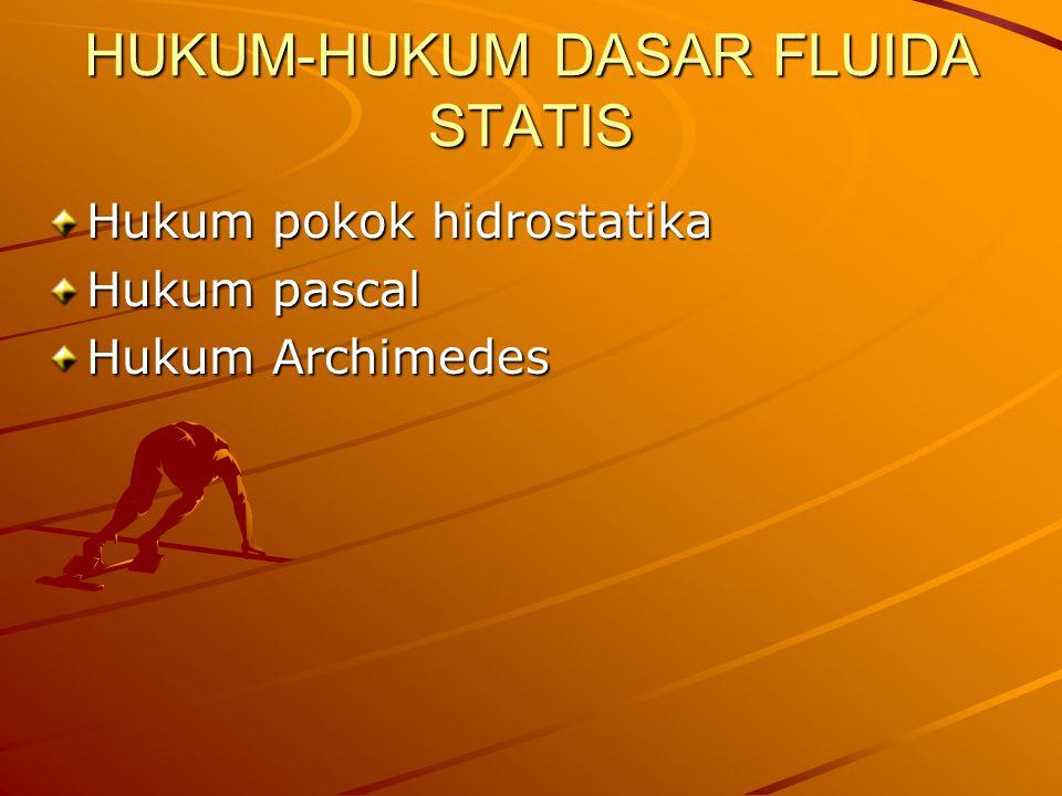 HUKUM-HUKUM DASAR FLUIDA STATIS Hukum pokok hidrostatika Hukum pascal Hukum Archimedes