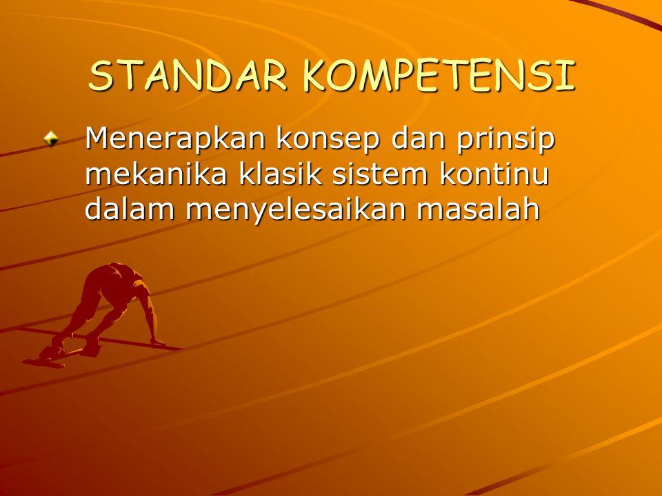 STANDAR KOMPETENSI Menerapkan konsep dan prinsip mekanika klasik sistem kontinu dalam menyelesaikan masalah