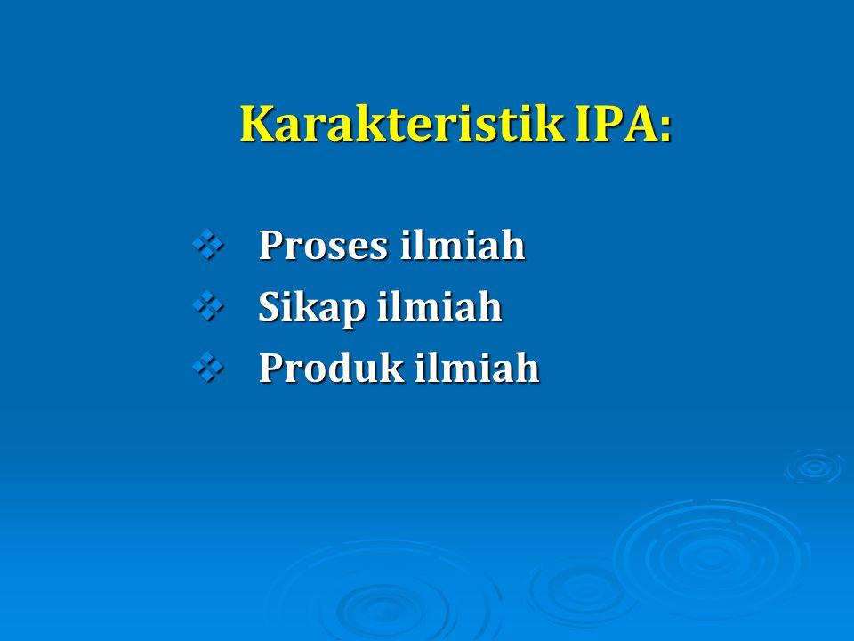 Karakteristik IPA:  Proses ilmiah  Sikap ilmiah  Produk ilmiah