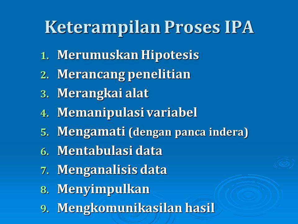 Keterampilan Proses IPA 1. Merumuskan Hipotesis 2. Merancang penelitian 3. Merangkai alat 4. Memanipulasi variabel 5. Mengamati (dengan panca indera)