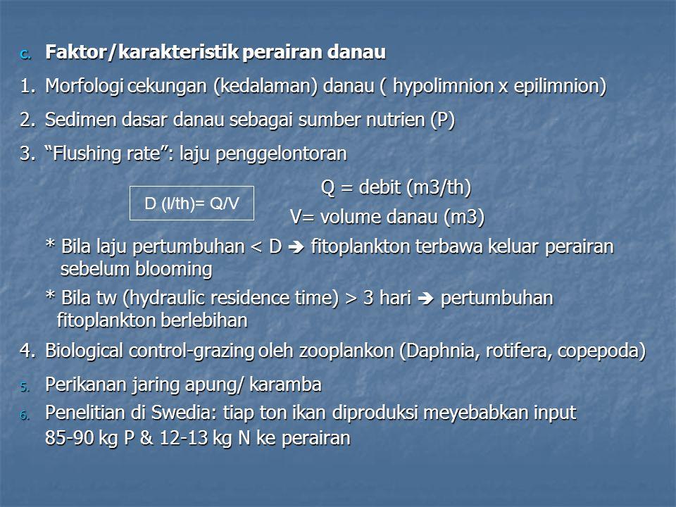 C. Faktor/karakteristik perairan danau 1.Morfologi cekungan (kedalaman) danau ( hypolimnion x epilimnion) 2.Sedimen dasar danau sebagai sumber nutrien