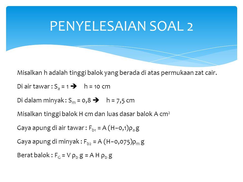 Misalkan h adalah tinggi balok yang berada di atas permukaan zat cair. Di air tawar : S a = 1  h = 10 cm Di dalam minyak : S m = 0,8  h = 7,5 cm M
