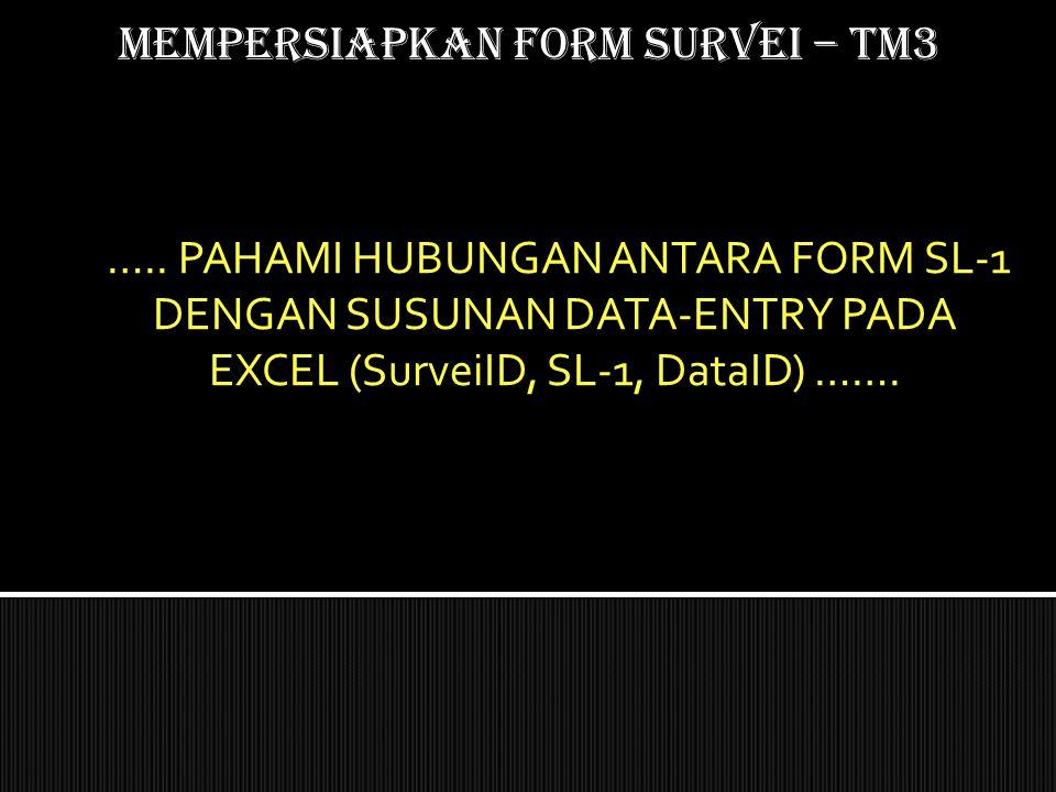 Mempersiapkan form SURVEI – TM3 ….. PAHAMI HUBUNGAN ANTARA FORM SL-1 DENGAN SUSUNAN DATA-ENTRY PADA EXCEL (SurveiID, SL-1, DataID) …….