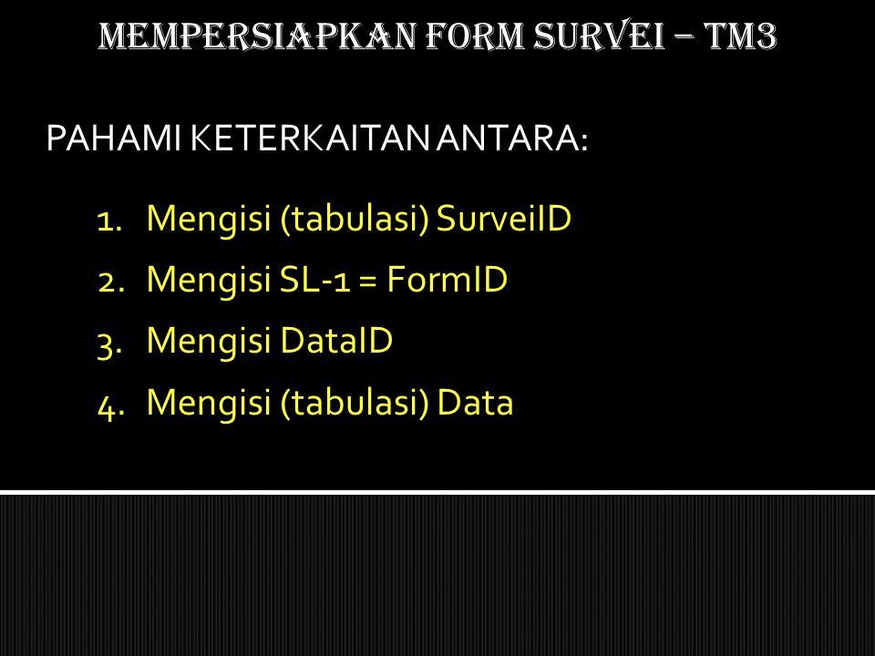 Mempersiapkan form SURVEI – TM3 1.Mengisi (tabulasi) SurveiID 2.Mengisi SL-1 = FormID 3.Mengisi DataID 4.Mengisi (tabulasi) Data PAHAMI KETERKAITAN AN