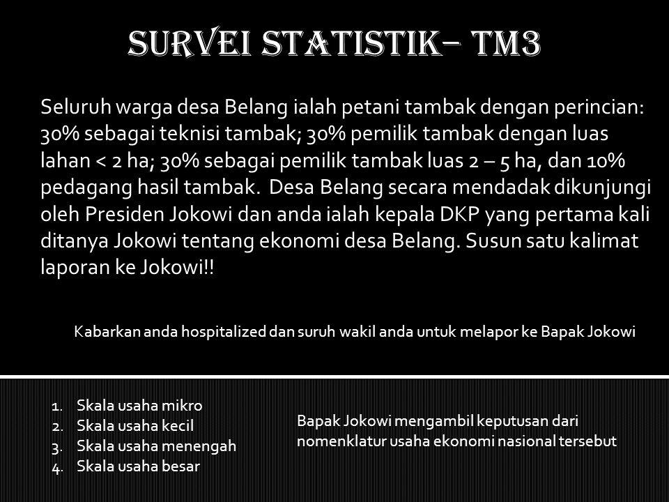 SURVEI STATISTIK– TM3 Seluruh warga desa Belang ialah petani tambak dengan perincian: 30% sebagai teknisi tambak; 30% pemilik tambak dengan luas lahan