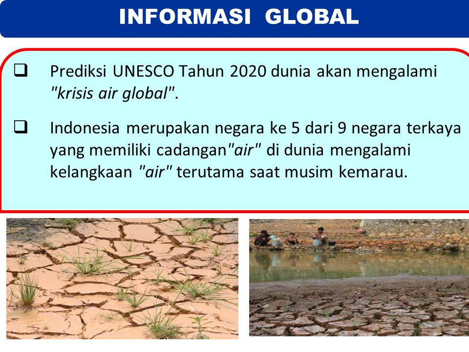 INFORMASI GLOBAL  Prediksi UNESCO Tahun 2020 dunia akan mengalami