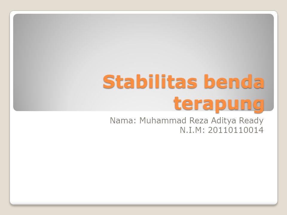 Stabilitas benda terapung Nama: Muhammad Reza Aditya Ready N.I.M: 20110110014