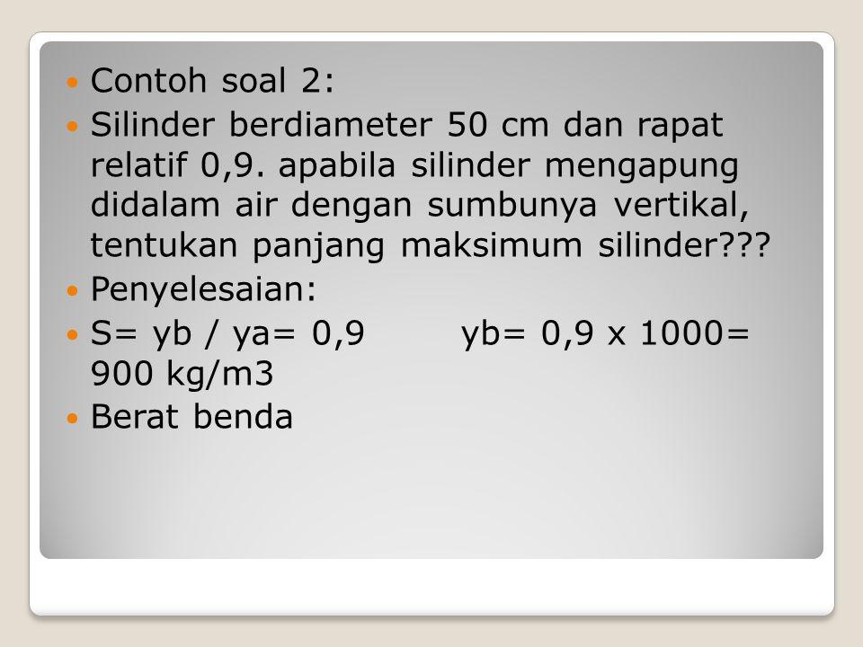 Contoh soal 2: Silinder berdiameter 50 cm dan rapat relatif 0,9. apabila silinder mengapung didalam air dengan sumbunya vertikal, tentukan panjang mak