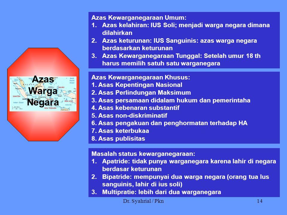 Dr. Syahrial / Pkn14 Azas Kewarganegaraan Umum: 1.Azas kelahiran: IUS Soli; menjadi warga negara dimana dilahirkan 2.Azas keturunan: IUS Sanguinis: az