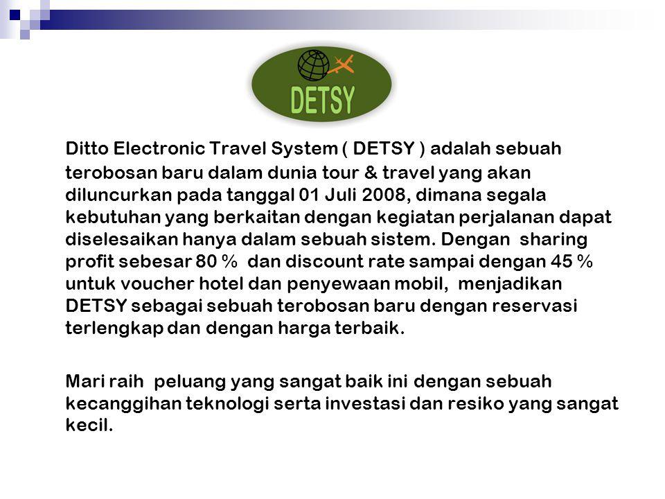 Ditto Electronic Travel System ( DETSY ) adalah sebuah terobosan baru dalam dunia tour & travel yang akan diluncurkan pada tanggal 01 Juli 2008, dimana segala kebutuhan yang berkaitan dengan kegiatan perjalanan dapat diselesaikan hanya dalam sebuah sistem.