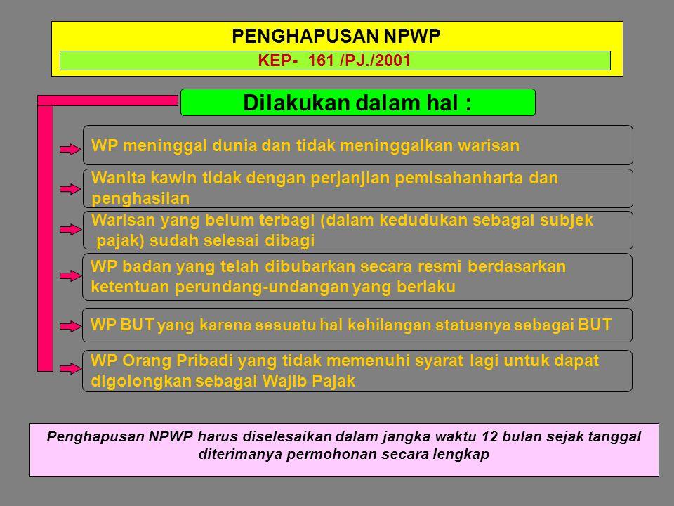 Dilakukan dalam hal : Wanita kawin tidak dengan perjanjian pemisahanharta dan penghasilan WP badan yang telah dibubarkan secara resmi berdasarkan kete