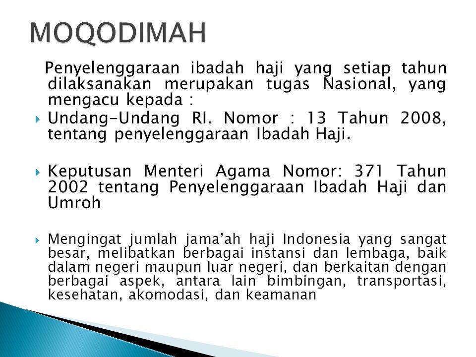 Penyelenggaraan ibadah haji yang setiap tahun dilaksanakan merupakan tugas Nasional, yang mengacu kepada :  Undang-Undang RI. Nomor : 13 Tahun 2008,