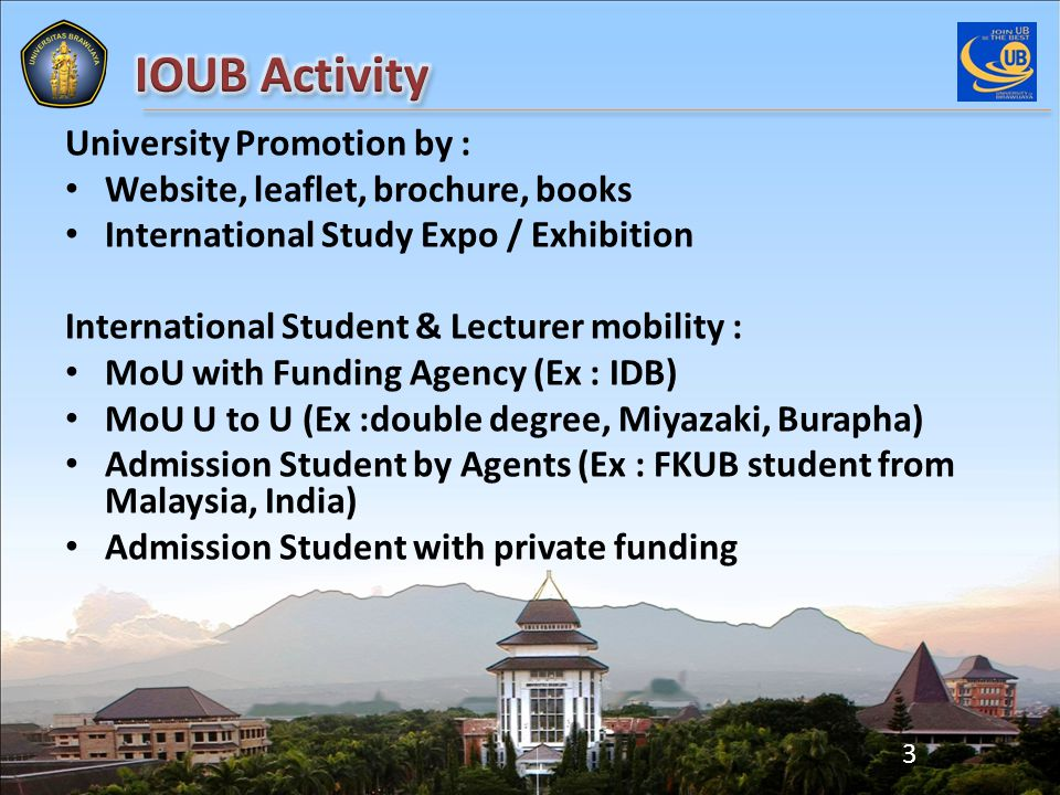 University Promotion by : Website, leaflet, brochure, books International Study Expo / Exhibition International Student & Lecturer mobility : MoU with Funding Agency (Ex : IDB) MoU U to U (Ex :double degree, Miyazaki, Burapha) Admission Student by Agents (Ex : FKUB student from Malaysia, India) Admission Student with private funding 3