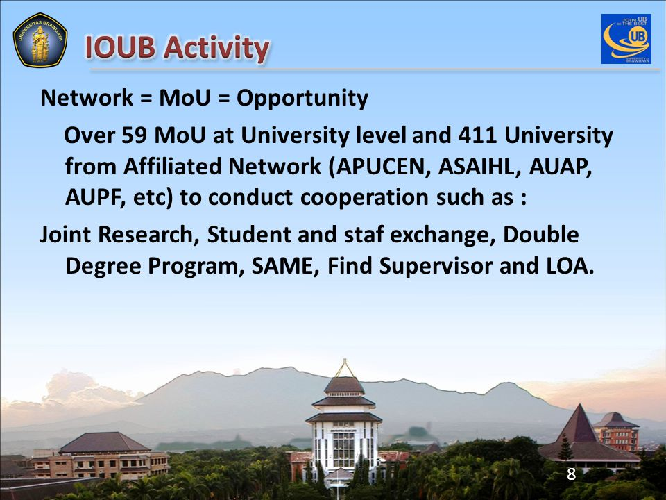 Network = MoU = Opportunity Over 59 MoU at University level and 411 University from Affiliated Network (APUCEN, ASAIHL, AUAP, AUPF, etc) to conduct cooperation such as : Joint Research, Student and staf exchange, Double Degree Program, SAME, Find Supervisor and LOA.