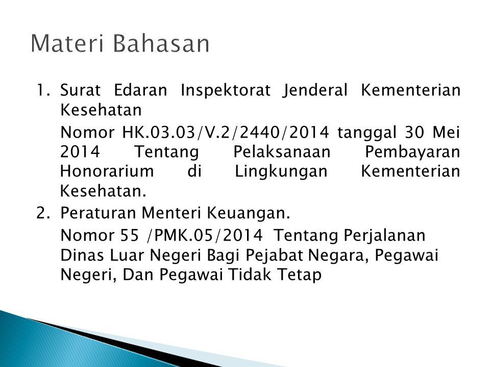 1.Surat Edaran Inspektorat Jenderal Kementerian Kesehatan Nomor HK.03.03/V.2/2440/2014 tanggal 30 Mei 2014 Tentang Pelaksanaan Pembayaran Honorarium d
