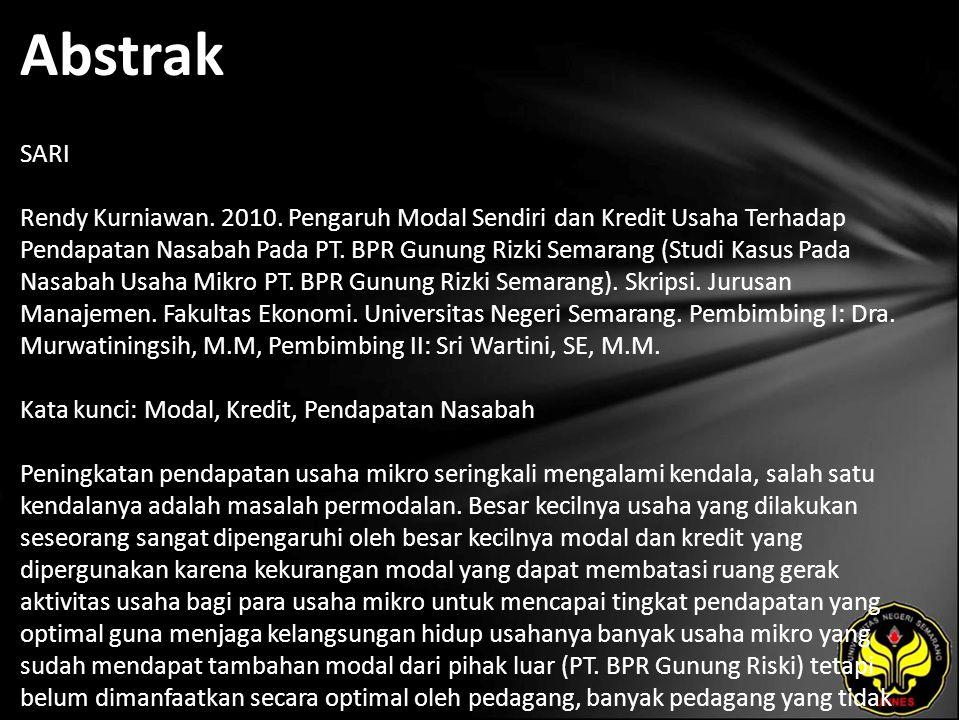 Abstrak SARI Rendy Kurniawan. 2010.