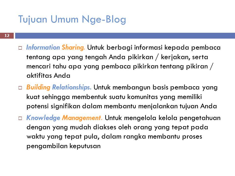 Tujuan Umum Nge-Blog  Information Sharing.