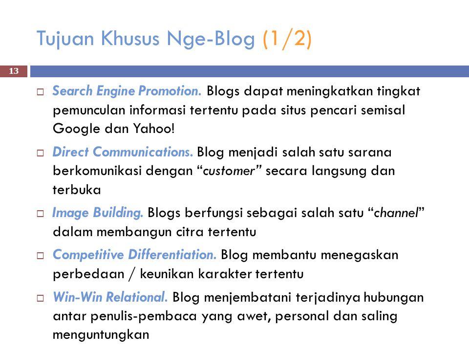 Tujuan Khusus Nge-Blog (1/2)  Search Engine Promotion.