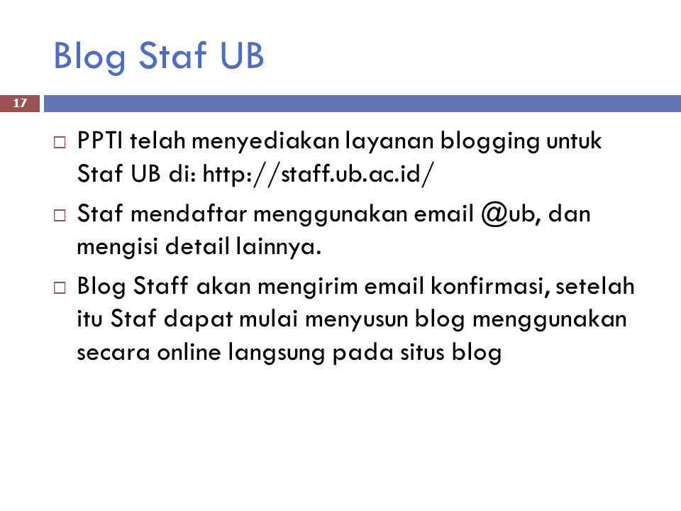 Blog Staf UB  PPTI telah menyediakan layanan blogging untuk Staf UB di: http://staff.ub.ac.id/  Staf mendaftar menggunakan email @ub, dan mengisi detail lainnya.