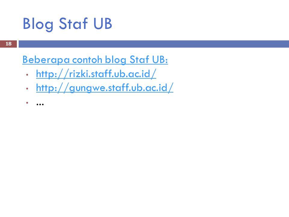 Blog Staf UB Beberapa contoh blog Staf UB: http://rizki.staff.ub.ac.id/ http://gungwe.staff.ub.ac.id/...