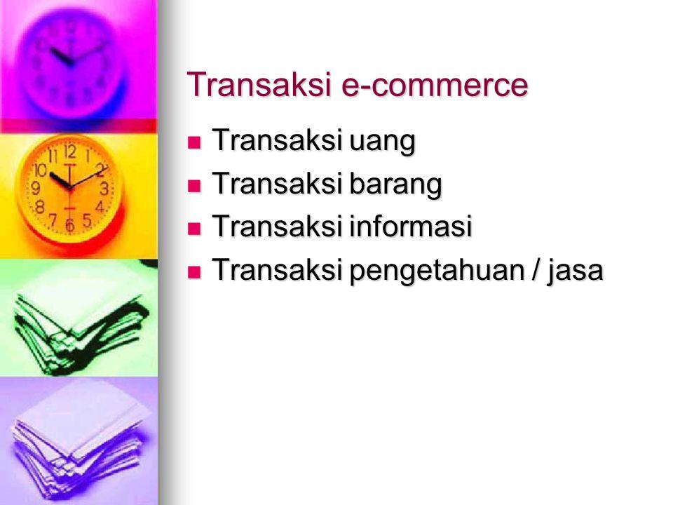 Transaksi e-commerce Transaksi uang Transaksi uang Transaksi barang Transaksi barang Transaksi informasi Transaksi informasi Transaksi pengetahuan / jasa Transaksi pengetahuan / jasa