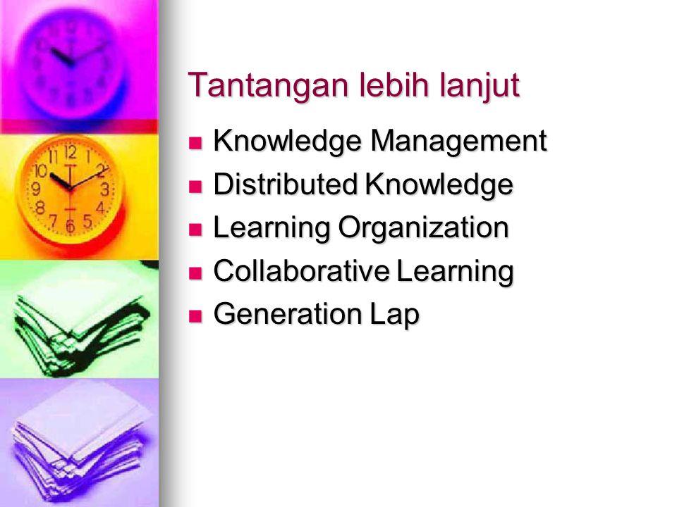 Tantangan lebih lanjut Knowledge Management Knowledge Management Distributed Knowledge Distributed Knowledge Learning Organization Learning Organization Collaborative Learning Collaborative Learning Generation Lap Generation Lap