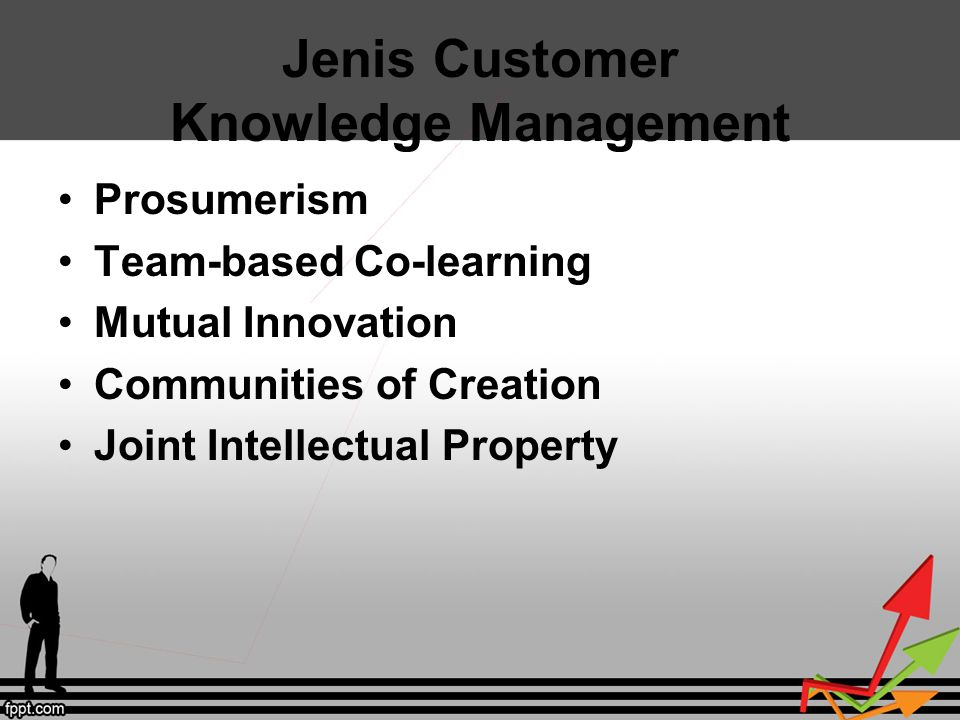Jenis Customer Knowledge Management Prosumerism Team-based Co-learning Mutual Innovation Communities of Creation Joint Intellectual Property