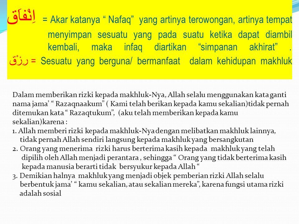 """اِنْفاَق = Akar katanya """" Nafaq"""" yang artinya terowongan, artinya tempat menyimpan sesuatu yang pada suatu ketika dapat diambil kembali, maka infaq di"""