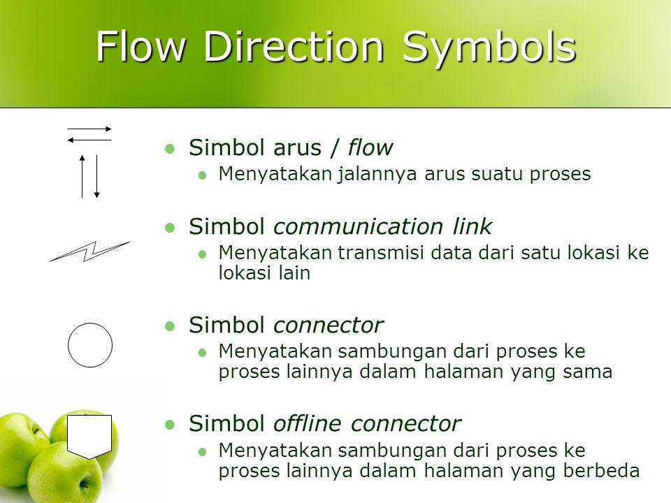 Flow Direction Symbols Simbol arus / flow Menyatakan jalannya arus suatu proses Simbol communication link Menyatakan transmisi data dari satu lokasi k