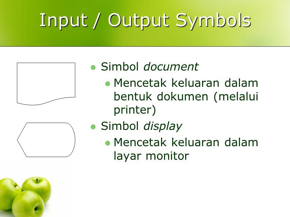 Input / Output Symbols Simbol document Mencetak keluaran dalam bentuk dokumen (melalui printer) Simbol display Mencetak keluaran dalam layar monitor