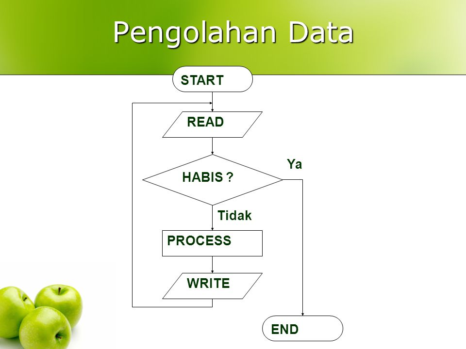 Pengolahan Data START READ HABIS ? PROCESS WRITE END Tidak Ya