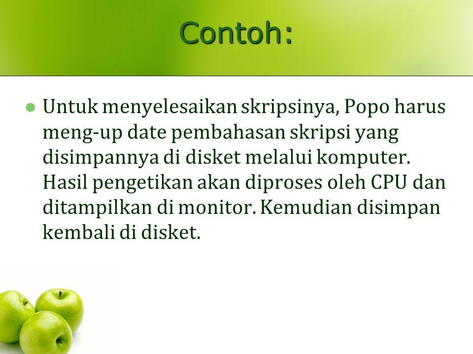 Contoh: Untuk menyelesaikan skripsinya, Popo harus meng-up date pembahasan skripsi yang disimpannya di disket melalui komputer. Hasil pengetikan akan