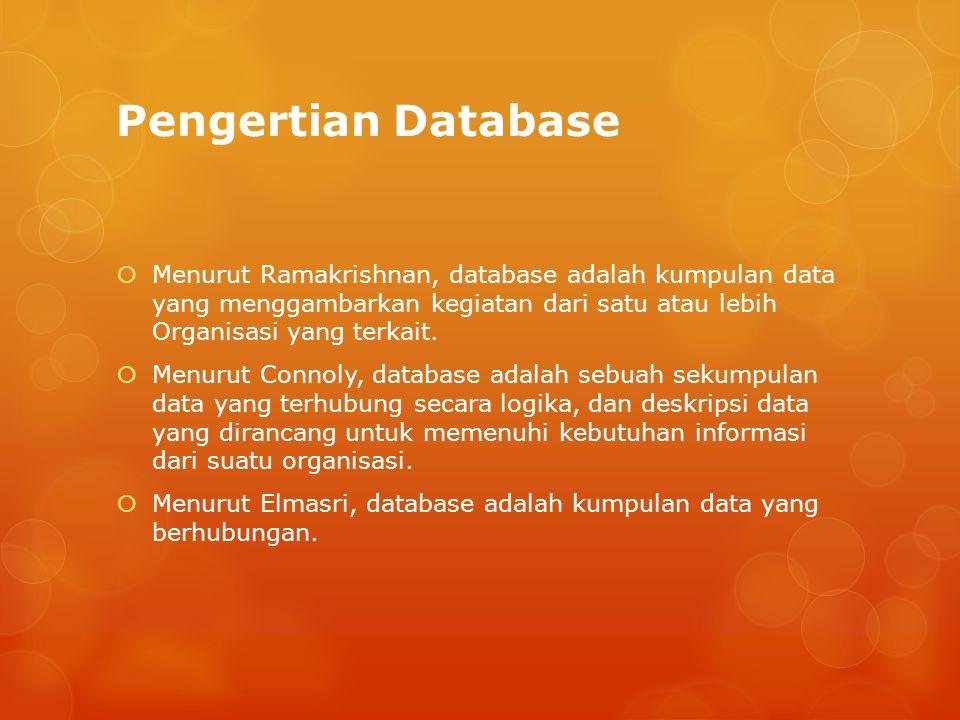 Pengertian DBMS  Menurut Ramakrishnan, database management system adalah software yang dirancang untuk membantu dalam mempertahankan dan memanfaatkan kumpulan data yang banyak dan kebutuhan untuk sistem tersebut.