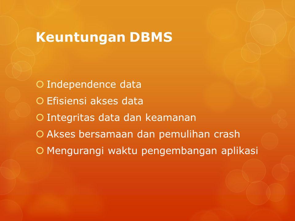 Keuntungan DBMS  Independence data  Efisiensi akses data  Integritas data dan keamanan  Akses bersamaan dan pemulihan crash  Mengurangi waktu pengembangan aplikasi