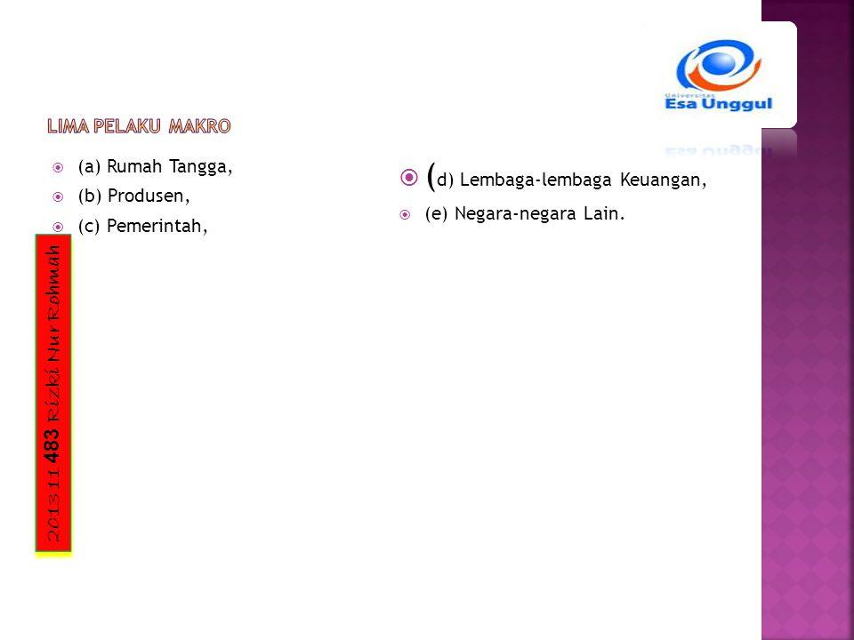 2013 11 483 Rizki Nur Rohmah  (a) Rumah Tangga,  (b) Produsen,  (c) Pemerintah,  ( d) Lembaga-lembaga Keuangan,  (e) Negara-negara Lain.