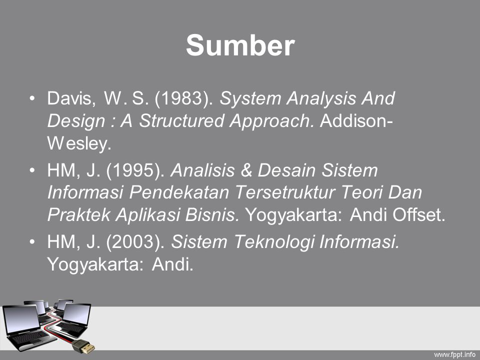 Sumber Davis, W.S. (1983). System Analysis And Design : A Structured Approach.