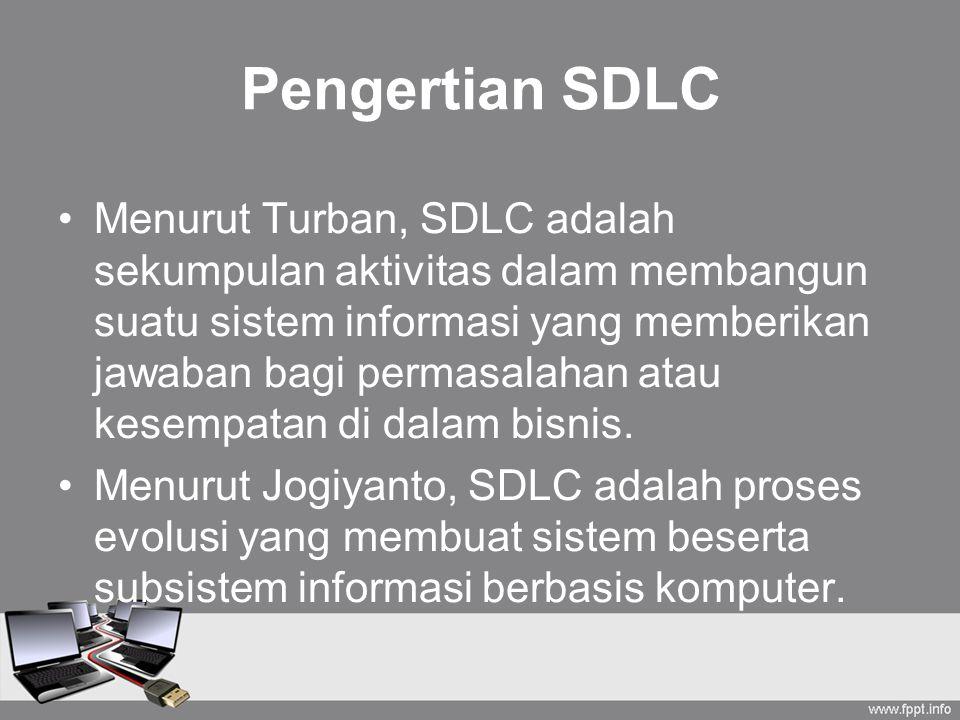 Pengertian SDLC Menurut Turban, SDLC adalah sekumpulan aktivitas dalam membangun suatu sistem informasi yang memberikan jawaban bagi permasalahan atau kesempatan di dalam bisnis.