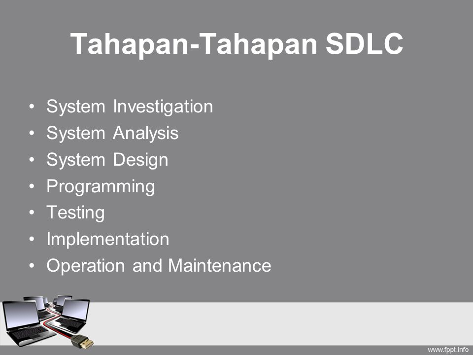 Tahapan-Tahapan SDLC System Investigation System Analysis System Design Programming Testing Implementation Operation and Maintenance