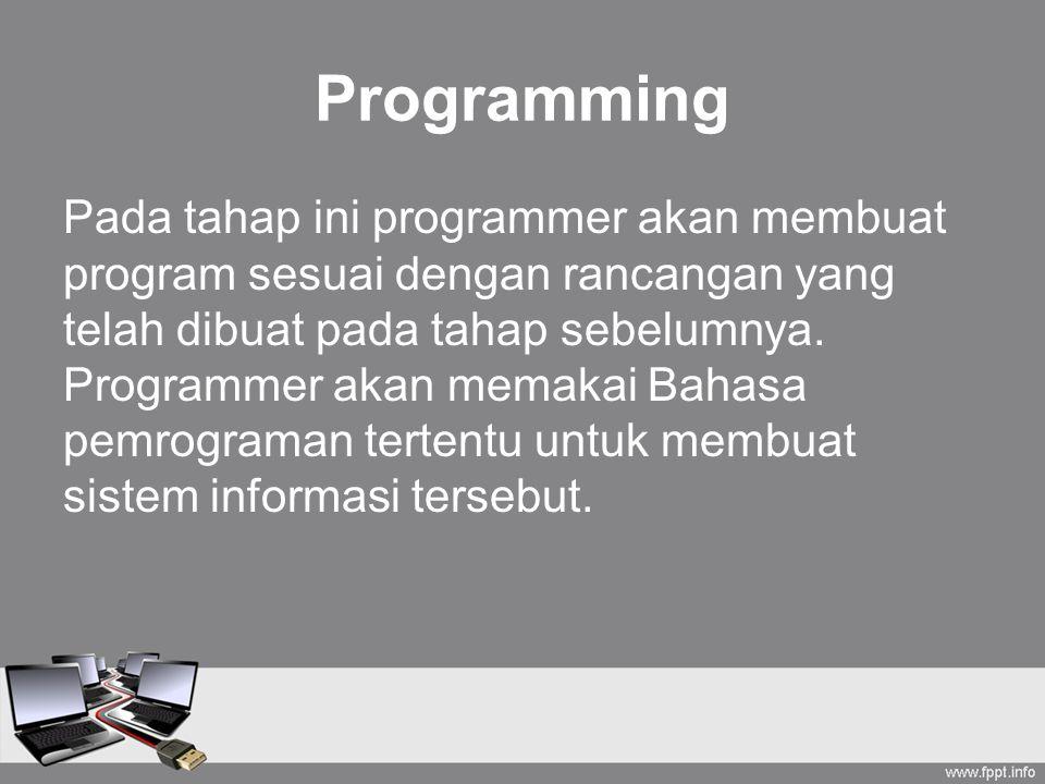 Programming Pada tahap ini programmer akan membuat program sesuai dengan rancangan yang telah dibuat pada tahap sebelumnya. Programmer akan memakai Ba