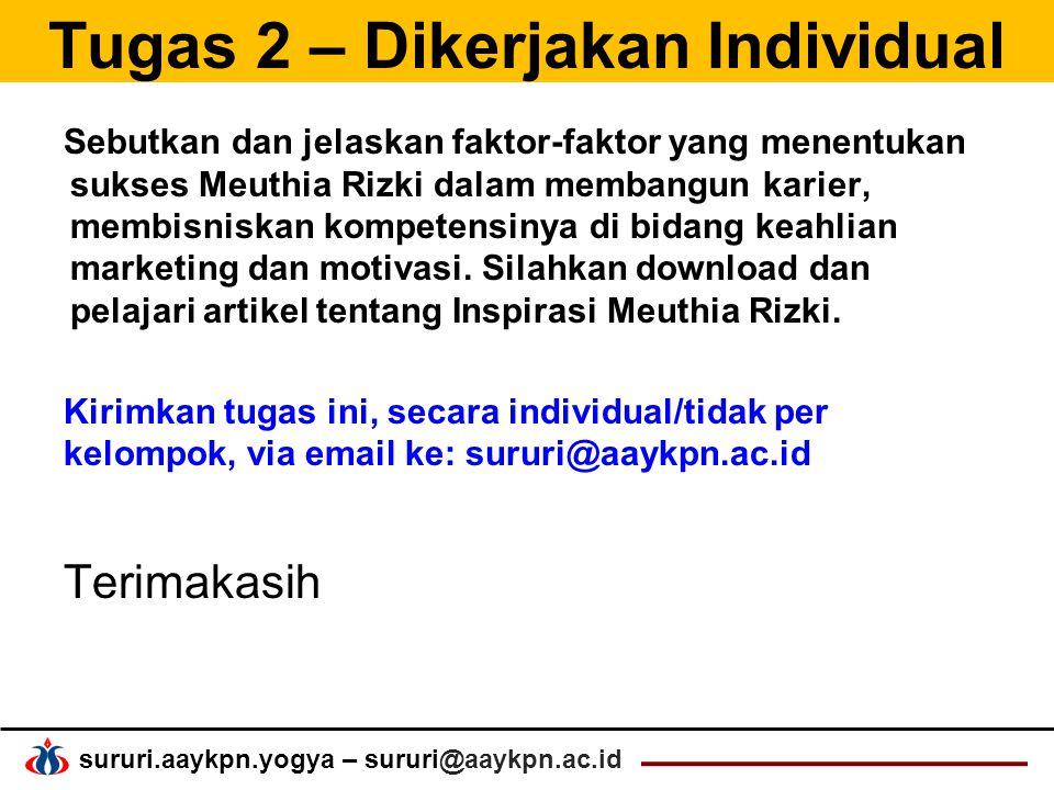 sururi.aaykpn.yogya – sururi@aaykpn.ac.id Tugas 2 – Dikerjakan Individual Sebutkan dan jelaskan faktor-faktor yang menentukan sukses Meuthia Rizki dalam membangun karier, membisniskan kompetensinya di bidang keahlian marketing dan motivasi.