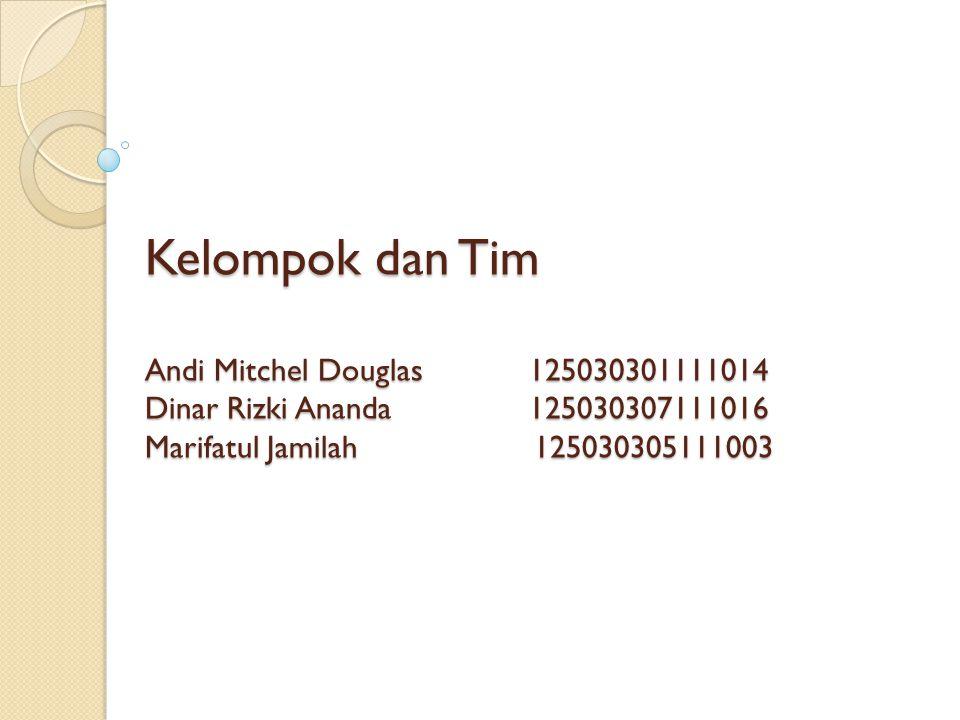 Kelompok dan Tim Andi Mitchel Douglas 125030301111014 Dinar Rizki Ananda125030307111016 Marifatul Jamilah 125030305111003