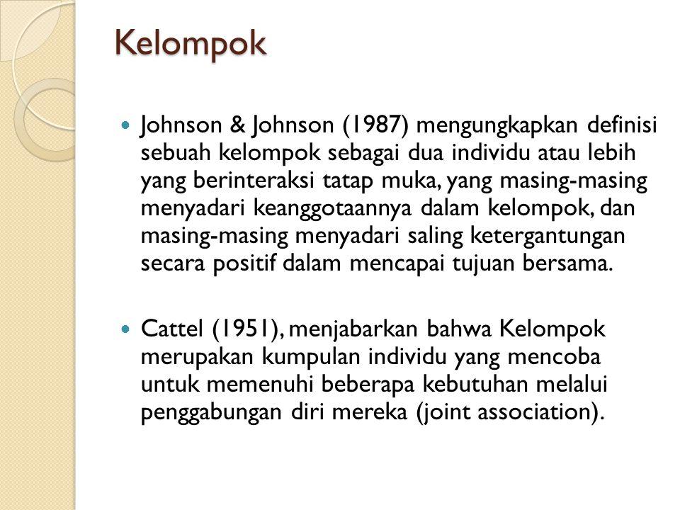 Kelompok Johnson & Johnson (1987) mengungkapkan definisi sebuah kelompok sebagai dua individu atau lebih yang berinteraksi tatap muka, yang masing-masing menyadari keanggotaannya dalam kelompok, dan masing-masing menyadari saling ketergantungan secara positif dalam mencapai tujuan bersama.