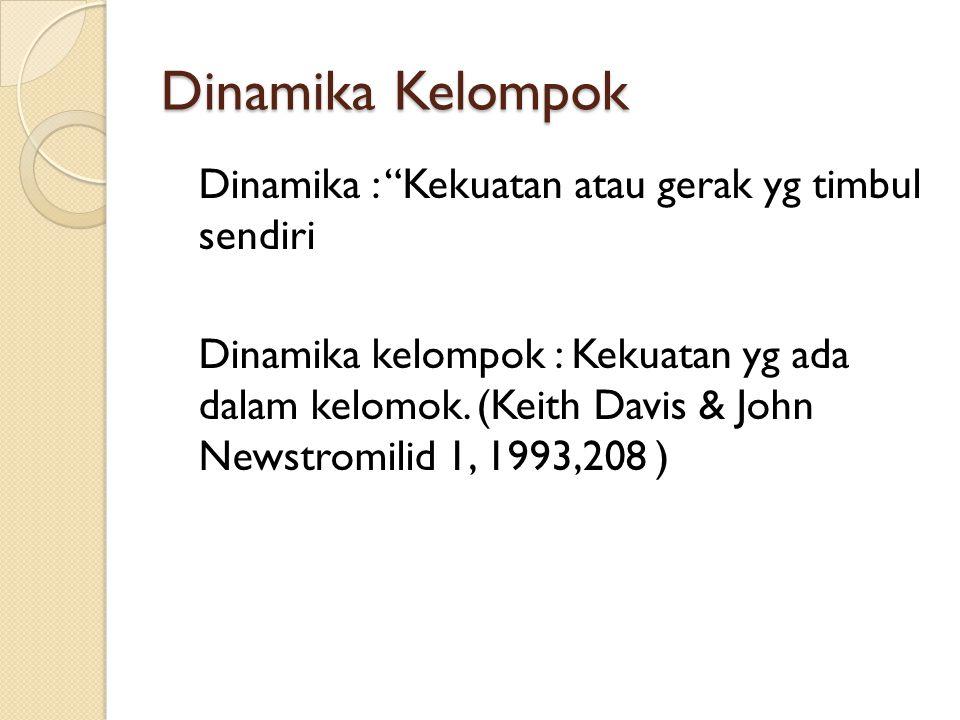 Dinamika Kelompok Dinamika : Kekuatan atau gerak yg timbul sendiri Dinamika kelompok : Kekuatan yg ada dalam kelomok.