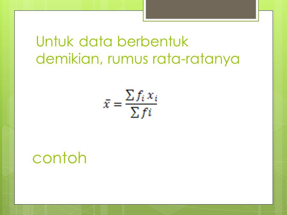 Untuk data berbentuk demikian, rumus rata-ratanya contoh