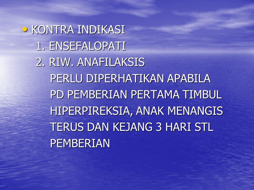 KONTRA INDIKASI KONTRA INDIKASI 1.ENSEFALOPATI 1.