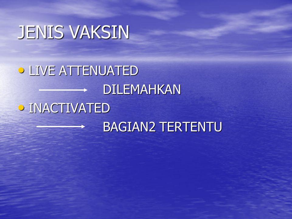 JENIS VAKSIN LIVE ATTENUATED LIVE ATTENUATED DILEMAHKAN DILEMAHKAN INACTIVATED INACTIVATED BAGIAN2 TERTENTU BAGIAN2 TERTENTU