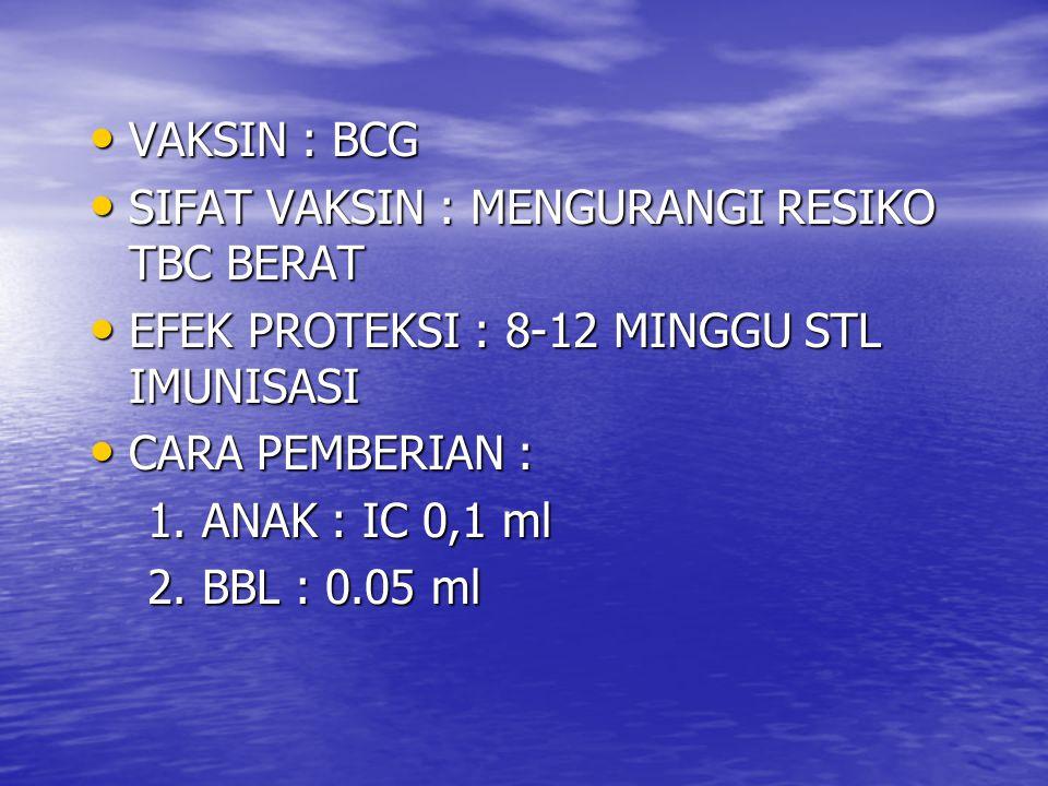 IMUNISASI LANJUTAN MMR MMR 1.UMUR : 15-18 BLN 1. UMUR : 15-18 BLN 2.