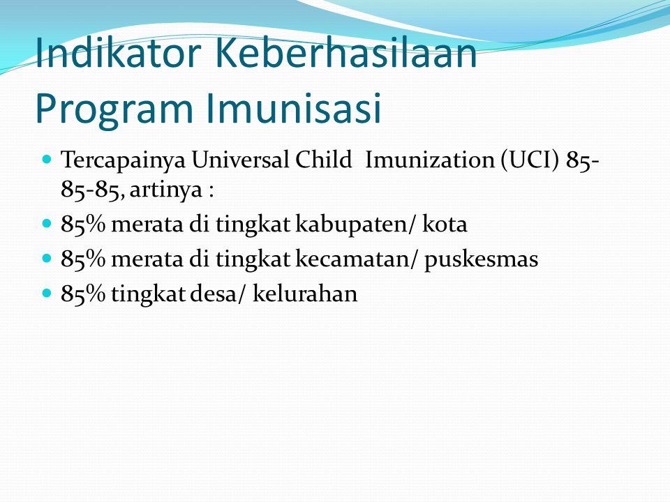 Indikator Keberhasilaan Program Imunisasi Tercapainya Universal Child Imunization (UCI) 85- 85-85, artinya : 85% merata di tingkat kabupaten/ kota 85%
