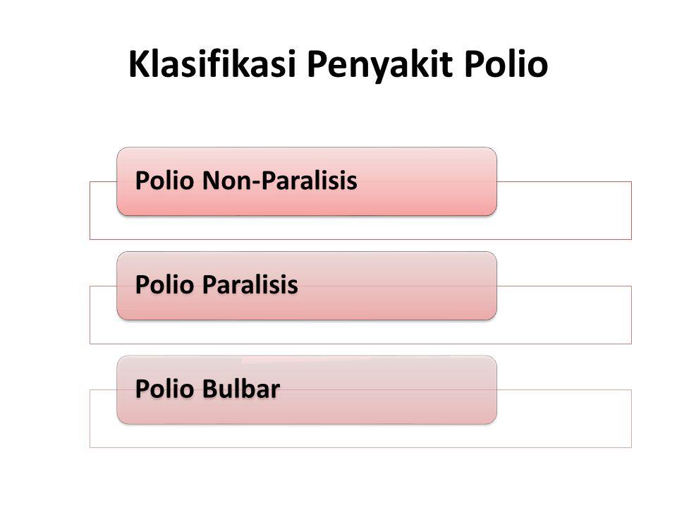 Polio Non-Paralisis Pada kasus poliomyelitis nonparalitik, yang berarti poliovirus telah mencapai selaput otak (meningitis aseptik), penderita mengalami kejang otot, sakit punggung dan leher